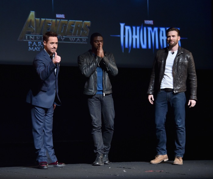 LOS ANGELES, CA - OCTOBER 28:  (L-R) Actors Robert Downey Jr., Chadwick Boseman and Chris Evans onstage during Marvel Studios fan event at The El Capitan Theatre on October 28, 2014 in Los Angeles, California.  (Photo by Alberto E. Rodriguez/Getty Images  for Disney) *** Local Caption *** Robert Downey Jr.;Chadwick Boseman;Chris Evans