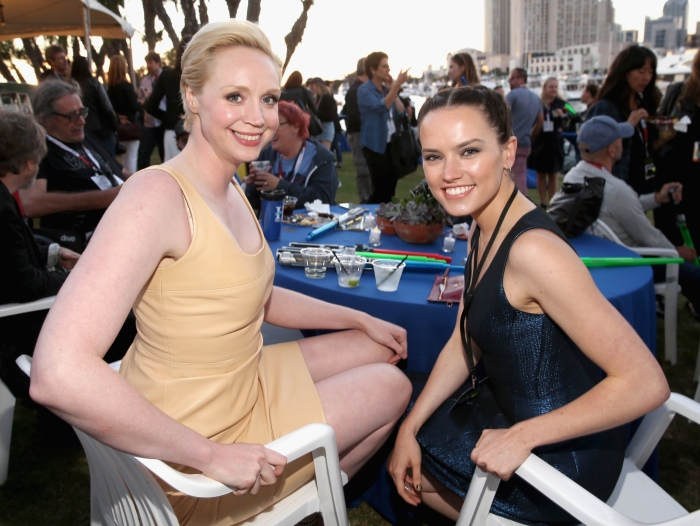 """SAN DIEGO, CA - JULY 10: Actresses Gwendoline Christie (L), Daisy Ridley and more than 6000 fans enjoyed a surprise """"Star Wars"""" Fan Concert performed by the San Diego Symphony, featuring the classic """"Star Wars"""" music of composer John Williams, at the Embarcadero Marina Park South on July 10, 2015 in San Diego, California.  (Photo by Jesse Grant/Getty Images for Disney) *** Local Caption *** Gwendoline Christie; Daisy Ridley"""