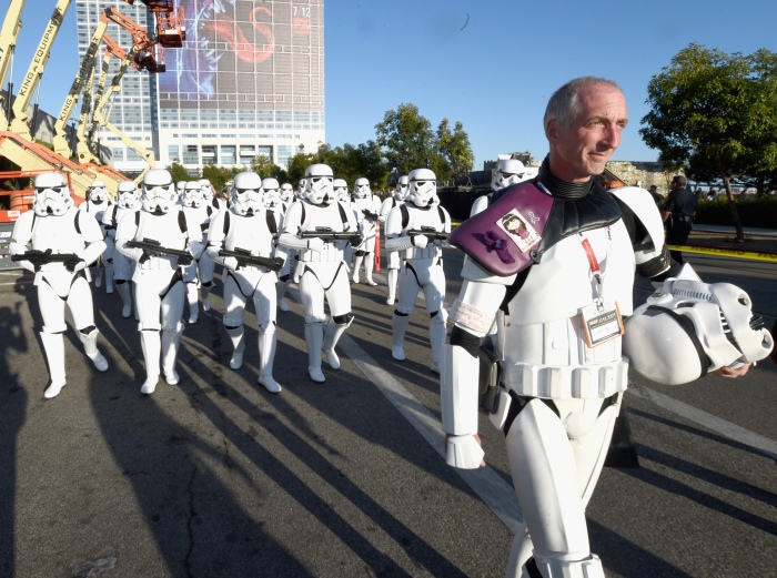 """SAN DIEGO, CA - JULY 10:  Following the """"Star Wars"""" Hall H presentation at Comic-Con International 2015 at the San Diego Convention Center in San Diego, Calif., 501st Legion member, Kevin Doyle and the audience of more than 6000 fans walked to a surprise """"Star Wars"""" Fan Concert performed by the San Diego Symphony, featuring the classic """"Star Wars"""" music of composer John Williams, at the Embarcadero Marina Park South on July 10, 2015 in San Diego, California.  (Photo by Michael Buckner/Getty Images for Disney) *** Local Caption *** Kevin Doyle"""
