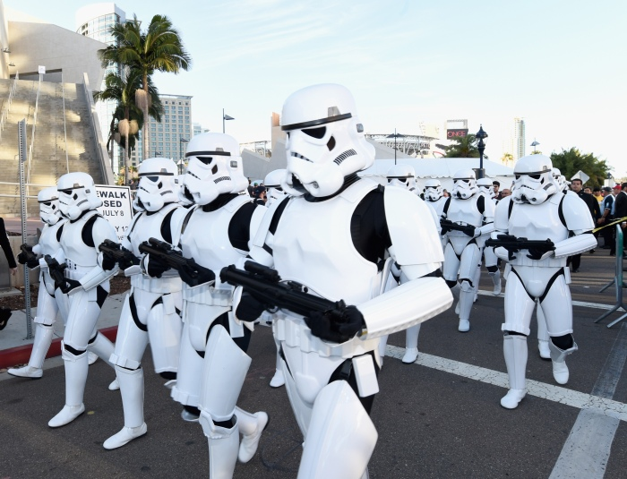 """SAN DIEGO, CA - JULY 10:  Following the """"Star Wars"""" Hall H presentation at Comic-Con International 2015 at the San Diego Convention Center in San Diego, Calif., the audience of more than 6000 fans walked to a surprise """"Star Wars"""" Fan Concert performed by the San Diego Symphony, featuring the classic """"Star Wars"""" music of composer John Williams, at the Embarcadero Marina Park South on July 10, 2015 in San Diego, California.  (Photo by Michael Buckner/Getty Images for Disney)"""