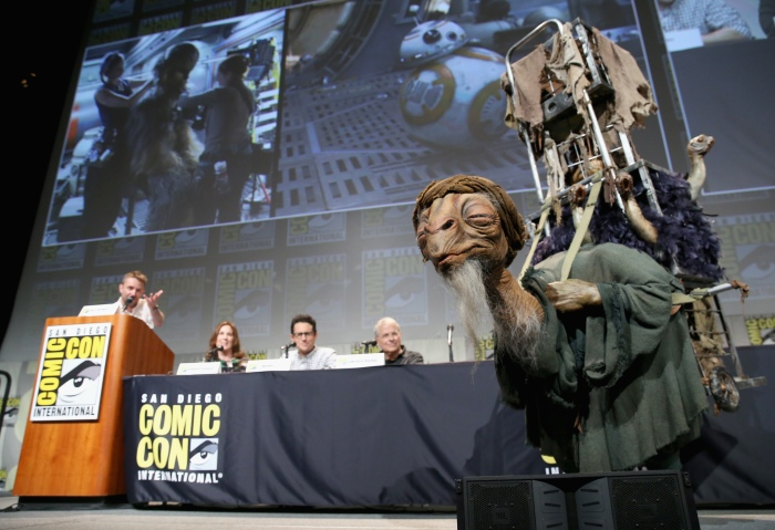SAN DIEGO, CA - JULY 10:  (L-R) Moderator Chris Hardwick, producer Kathleen Kennedy, director J.J. Abrams and screenwriter Lawrence Kasdan at the Hall H Panel for `Star Wars: The Force Awakens` during Comic-Con International 2015 at the San Diego Convention Center on July 10, 2015 in San Diego, California.  (Photo by Jesse Grant/Getty Images for Disney) *** Local Caption *** Chris Hardwick; Kathleen Kennedy; J.J. Abrams; Lawrence Kasdan