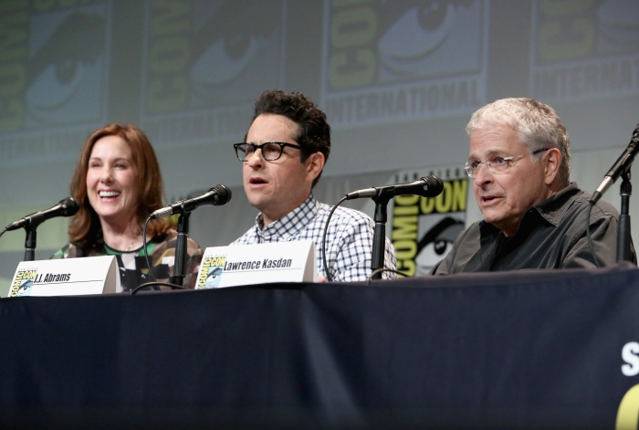 """SAN DIEGO, CA - JULY 10: (L-R) Producer Kathleen Kennedy, director J.J. Abrams and screenwriter Lawrence Kasdan at the Hall H Panel for """"Star Wars: The Force Awakens"""" during Comic-Con International 2015 at the San Diego Convention Center on July 10, 2015 in San Diego, California.  (Photo by Jesse Grant/Getty Images for Disney) *** Local Caption *** Kathleen Kennedy; J.J. Abrams; Lawrence Kasdan"""