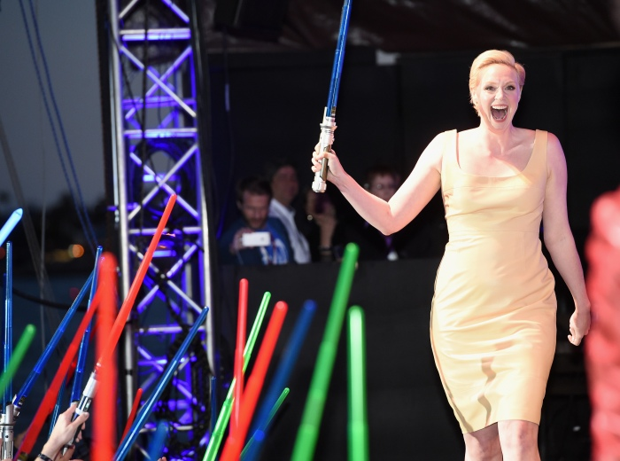 """SAN DIEGO, CA - JULY 10:  Actress Gwendoline Christie and more than 6000 fans enjoyed a surprise """"Star Wars"""" Fan Concert performed by the San Diego Symphony, featuring the classic """"Star Wars"""" music of composer John Williams, at the Embarcadero Marina Park South on July 10, 2015 in San Diego, California.  (Photo by Michael Buckner/Getty Images for Disney) *** Local Caption *** Gwendoline Christie"""